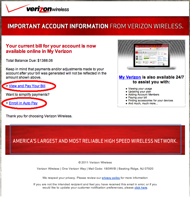 Verizon Wireless email scam