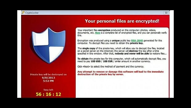 CryptoLocker malware hits personal and business email