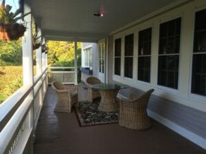 The front lanai of the Jacaranda Inn. This is gorgeous first thing in the morning.