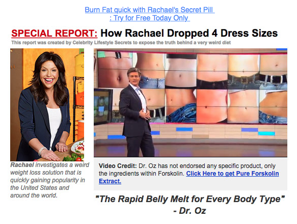 The Rachel Ray, Oprah, and Forskolin diet emails