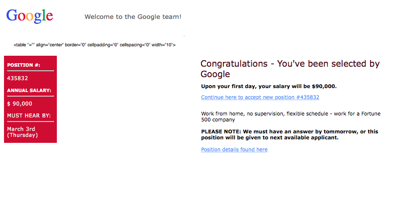 Google job email — do not be fooled by this scam
