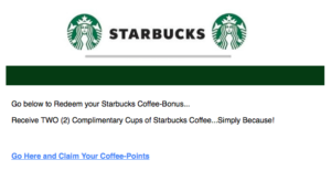 Starbucks email scam