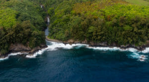 Waterfalls on Big Island from helicopter