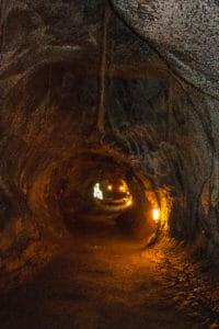 Inside Thurston Lava Tube at Volcanos National Park