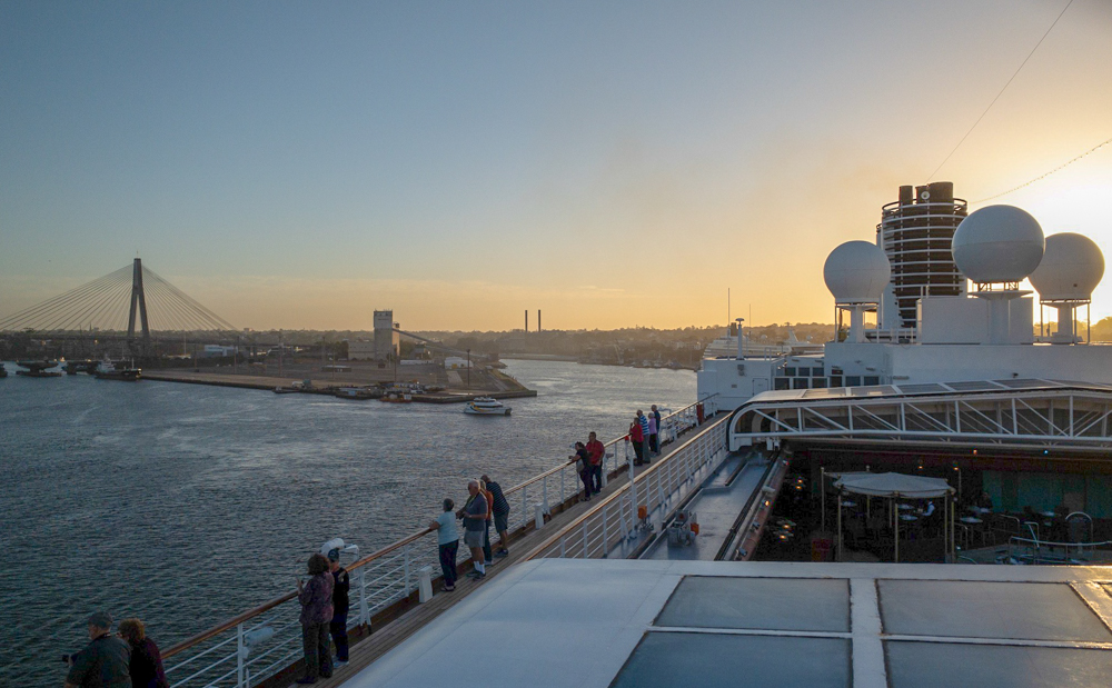 Sunset looking toward the rear of the MS Noordam as we leave Sydney behind