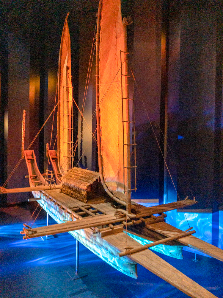 Model of a double-hulled canoe