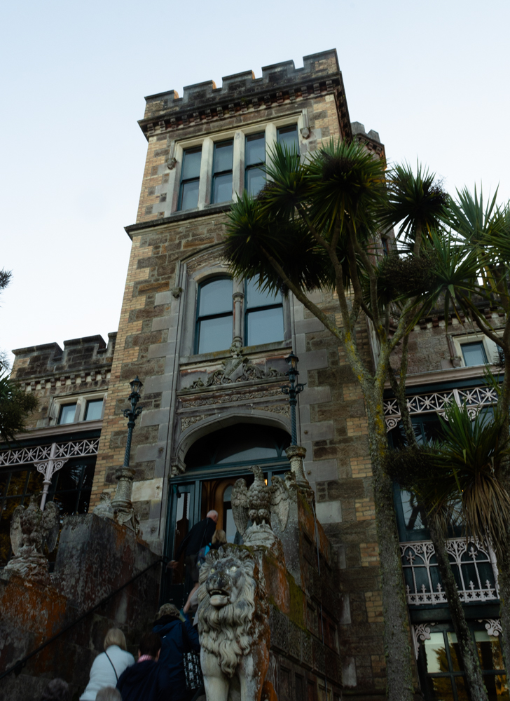 Lions guard the front door of Larnach Castle