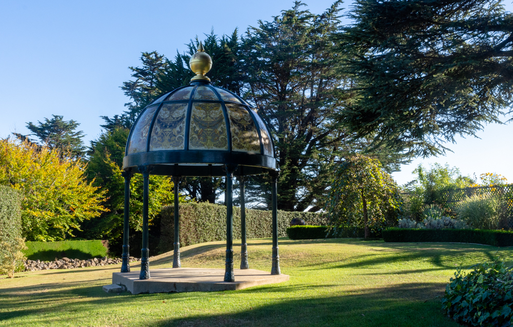 Glass gazebo at Larnach Castle