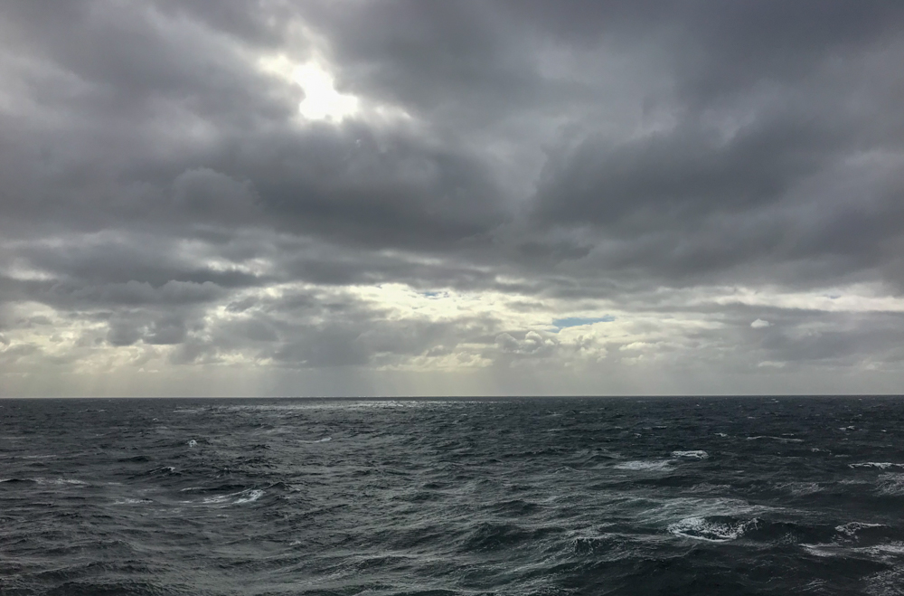 Stormy ocean leaving Port Chalmers and Dunedin