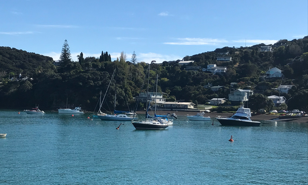 Boats and houses in Russell