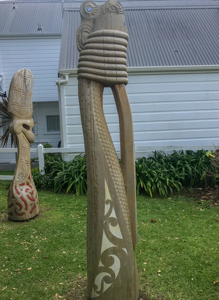 Close-up of sculptures of the green in Russell, New Zealand