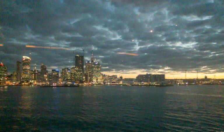 Auckland skyline at sunset