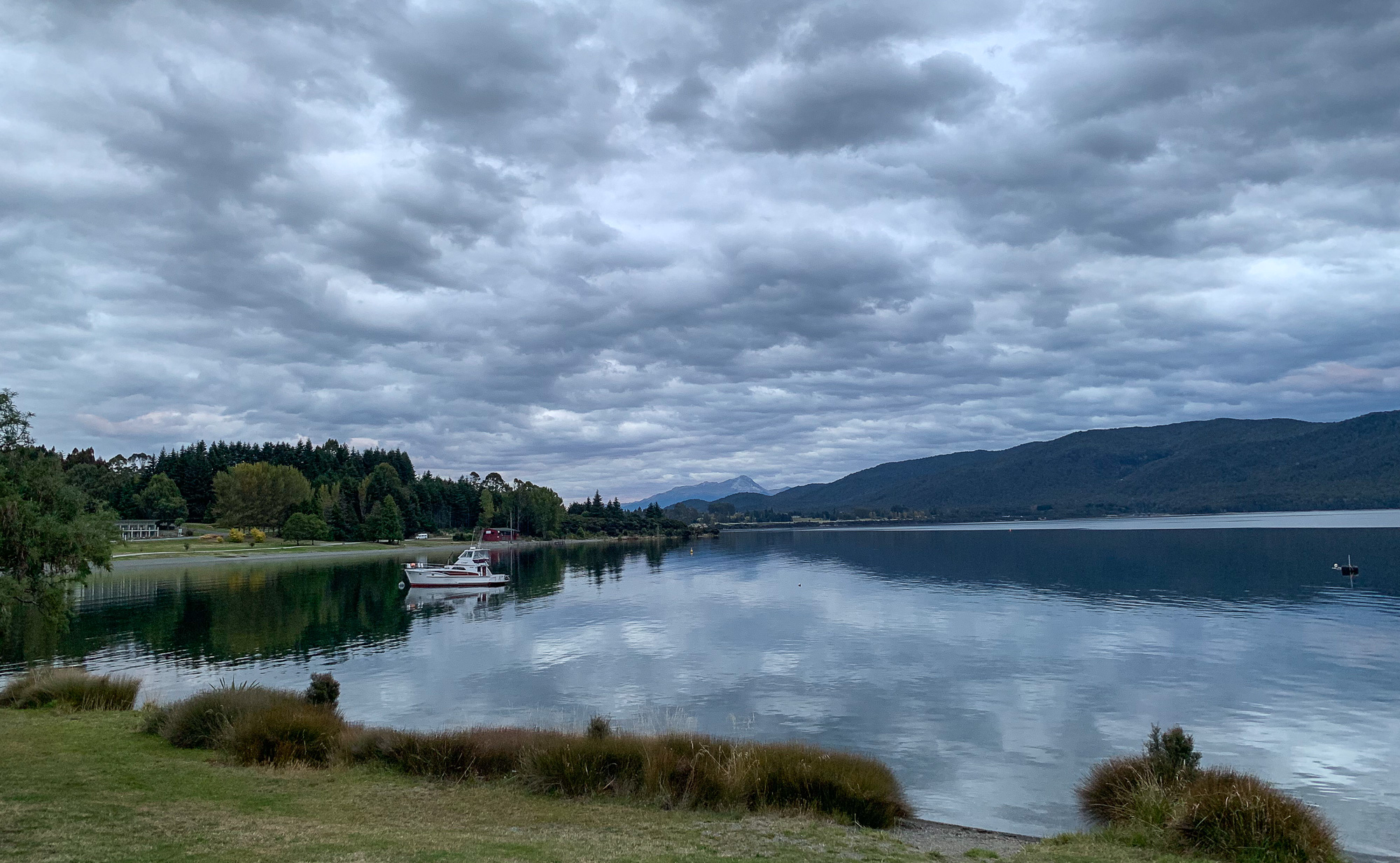 Small boat on the water at Lake Te Anau